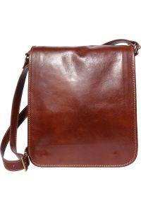 Δερματινη Τσαντα Ωμου Mirko MM Firenze Leather 6516 Καφε