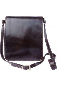 Δερματινο Τσαντακι Ωμου Mirko Firenze Leather 6515 Σκουρο Καφε