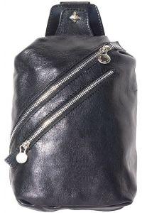 Δερματινο Τσαντακι Μεσης Firenze Leather 6561 Μαύρο