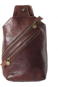 Δερματινο Τσαντακι Μεσης Firenze Leather 6561 Σκουρο Καφε