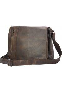 Δερματινη Τσαντα Ταχυδρομου Grigori Firenze Leather 68023 Σκουρο Καφε