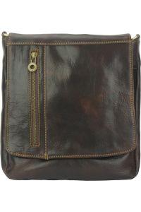 Δερματινη Τσαντα Ωμου Amico Firenze Leather 6565 Σκουρο Καφε