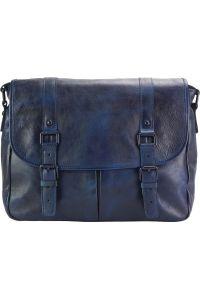 Δερματινη Τσαντα Ταχυδρομου Mattia Firenze Leather 68140 Σκουρο Μπλε