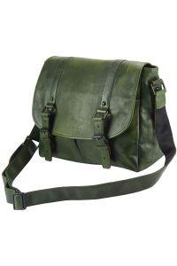 Δερματινη Τσαντα Ταχυδρομου Mattia Firenze Leather 68140 Σκουρο Πρασινο