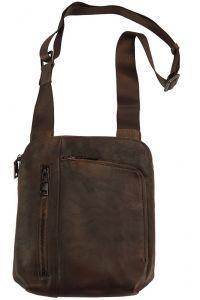 Τσαντακι Ωμου Δερματινο Gianluigi Firenze Leather 68026 Σκουρο Καφε