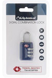 Κλειδαριά με 3ψήφιο Συνδυασμό Diplomat ACLOCK3 Μπλε