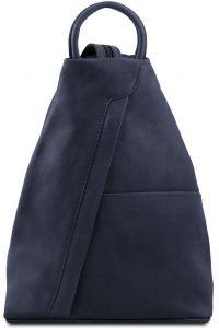 Γυναικείο Τσαντάκι Δερμάτινο Shanghai Μπλε σκούρο Tuscany Leather