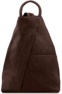Γυναικείο Τσαντάκι Δερμάτινο Shanghai Καφέ Σκούρο Tuscany Leather