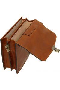 Ανδρικό Τσαντάκι Δερμάτινο David S Καφέ σκούρο Tuscany Leather