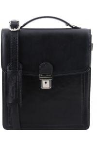 Ανδρικό Τσαντάκι Δερμάτινο David L Μαύρο Tuscany Leather