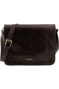 Ανδρική Τσάντα Δερμάτινη Messenger TL141254 Καφέ σκούρο Tuscany Leather