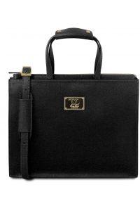 Γυναικεία Επαγγελματική Τσάντα Δερμάτινη Palermo Μαύρο Tuscany Leather