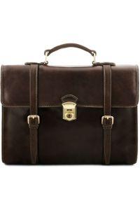 Ανδρική Επαγγελματική Τσάντα Δερμάτινη Viareggio Καφέ σκούρο Tuscany Leather