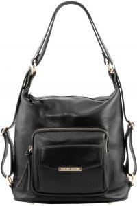 444a580bd0 Γυναικεία Τσάντα Δερμάτινη Ώμου   Πλάτης TL141535 Μαύρο Tuscany Leather
