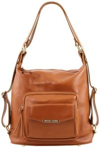 Γυναικεία Τσάντα Δερμάτινη Ώμου / Πλάτης TL141535 Κονιάκ Tuscany Leather