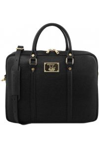 Τσάντα Laptop Δερμάτινη Prato Μαύρο Tuscany Leather