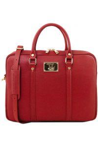 Τσάντα Laptop Δερμάτινη Prato Κόκκινο Tuscany Leather
