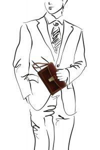 Ανδρικό Τσαντάκι Δερμάτινο Max Καφέ Σκούρο Tuscany Leather