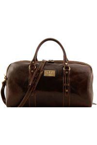 Σάκος Ταξιδίου Δερμάτινος Francoforte S Καφέ Σκούρο Tuscany Leather