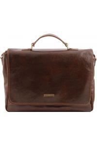 Τσάντα Laptop Δερμάτινη Padova Καφέ σκούρο Tuscany Leather