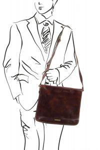 Ανδρική Τσάντα Δερμάτινη Messenger Double Μαύρο Tuscany Leather