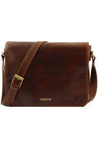 Ανδρική Τσάντα Δερμάτινη Messenger Double Καφέ Tuscany Leather