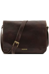 Ανδρική Τσάντα Δερμάτινη Messenger Double Καφέ σκούρο Tuscany Leather