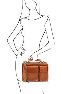 Γυναικεία Επαγγελματική Τσάντα Δερμάτινη Tania S Μελί Tuscany Leather