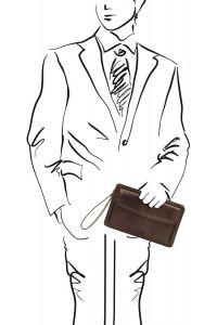 Ανδρικό Τσαντάκι Δερμάτινο Denis Καφέ σκούρο Tuscany Leather