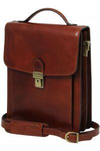 Ανδρικό Τσαντάκι Δερμάτινο David L Μελί Tuscany Leather