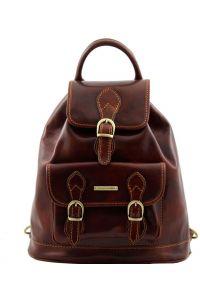 Τσάντα Πλάτης Δερμάτινη Singapore Καφέ Tuscany Leather