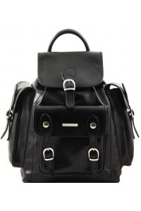 Τσάντα Πλάτης Δερμάτινη Pechino Μαύρο Tuscany Leather