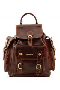 Τσάντα Πλάτης Δερμάτινη Pechino Καφέ Tuscany Leather