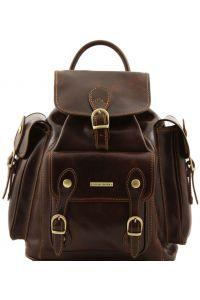 Τσάντα Πλάτης Δερμάτινη Pechino Καφέ σκούρο Tuscany Leather