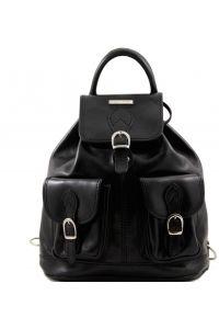 Τσάντα Πλάτης Δερμάτινη Tokyo Μαύρο Tuscany Leather