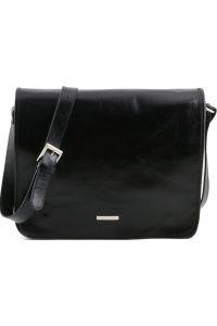 Ανδρική Τσάντα Δερμάτινη Messenger TL141254 Μαύρο Tuscany Leather