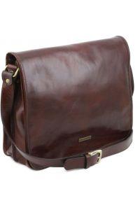 Ανδρική Τσάντα Δερμάτινη Messenger TL141254 Μελί Tuscany Leather