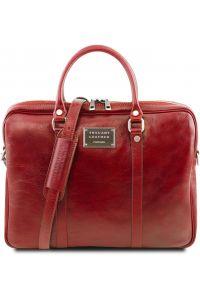 """Γυναικεία Τσάντα Laptop 15.6"""" Δερμάτινη Prato Κόκκινο Tuscany Leather"""