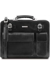 Επαγγελματική Τσάντα Δερμάτινη Venezia Μαύρο Tuscany Leather
