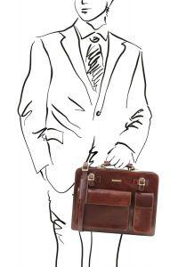 Επαγγελματική Τσάντα Δερμάτινη Venezia Καφέ Tuscany Leather