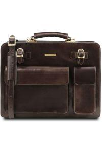 8a13ffc754 Επαγγελματική Τσάντα Δερμάτινη Venezia Καφέ σκούρο Tuscany Leather