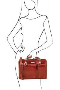 Γυναικεία Επαγγελματική Τσάντα Δερμάτινη Tania Κόκκινο Tuscany Leather