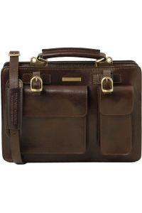 Γυναικεία Επαγγελματική Τσάντα Δερμάτινη Tania Καφέ σκούρο Tuscany Leather
