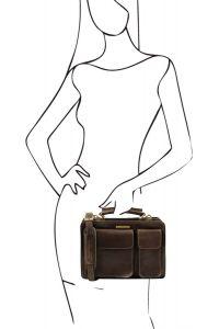 Γυναικεία Επαγγελματική Τσάντα Δερμάτινη Tania S Καφέ σκούρο Tuscany Leather