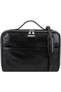 Τσάντα Laptop Δερμάτινη Vicenza Μαύρο Tuscany Leather