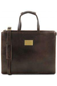 Γυναικεία Επαγγελματική Τσάντα Δερμάτινη Palermo Καφέ Σκούρο Tuscany Leather