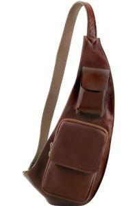 Ανδρικό Τσαντάκι Πλάτης Δερμάτινο TL141352 Καφέ Tuscany Leather