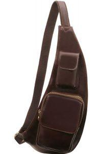 Ανδρικό Τσαντάκι Πλάτης Δερμάτινο TL141352 Καφέ Σκούρο Tuscany Leather