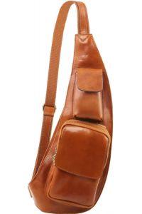 Ανδρικό Τσαντάκι Πλάτης Δερμάτινο TL141352 Μελί Tuscany Leather