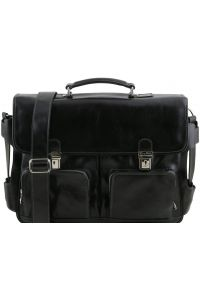 Επαγγελματική Τσάντα Δερμάτινη Ventimiglia με Smart Connect™ Μαύρο Tuscany Leather